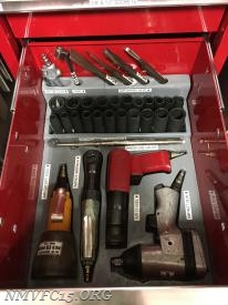 Air tool drawer showing custom tray